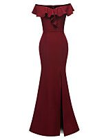 cheap -Mermaid / Trumpet Elegant Minimalist Party Wear Formal Evening Dress Off Shoulder Short Sleeve Floor Length Satin with Ruffles Split 2020