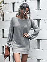 cheap -Women's Sweater Jumper Dress Short Mini Dress - Long Sleeve Solid Color Patchwork Spring Fall Off Shoulder Casual Lantern Sleeve Loose 2020 White Blushing Pink Gray Light Blue S M L XL
