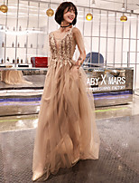cheap -A-Line Elegant Floral Wedding Guest Formal Evening Dress Illusion Neck Half Sleeve Sweep / Brush Train Tulle with Pleats Appliques 2020