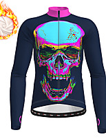 cheap -21Grams Men's Long Sleeve Cycling Jacket Winter Fleece Polyester Black Gradient Skull Funny Bike Jacket Top Mountain Bike MTB Road Bike Cycling Thermal Warm Fleece Lining Breathable Sports Clothing