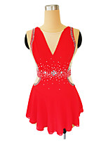 cheap -Figure Skating Dress Women's Girls' Ice Skating Dress Red Glitter Patchwork Spandex High Elasticity Competition Skating Wear Handmade Crystal / Rhinestone Sleeveless Ice Skating Figure Skating / Kids