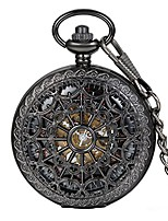 cheap -unisex antique steampunk black skeleton spider web pattern hand wind mechanical movement roman numeral pocket watch gift with 14 inches chain
