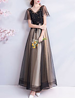 cheap -A-Line Elegant Floral Wedding Guest Formal Evening Dress V Neck Short Sleeve Floor Length Organza Tulle with Beading Appliques 2020
