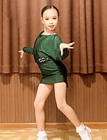 cheap -Latin Dance Dress Ruching Girls' Performance Long Sleeve Spandex
