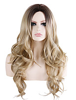 cheap -Synthetic Wig Wavy Loose Curl Middle Part Wig Long Brown / Burgundy Synthetic Hair 28 inch Women's Fashionable Design Party Exquisite Brown