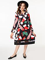 cheap -Women's A-Line Dress Knee Length Dress - Long Sleeve Print Patchwork Print Fall Casual Going out 2020 Black Red S M L XL XXL
