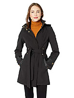 cheap -women's belted soft shell hooded jacket with faux leopard lining, jet black, x-large
