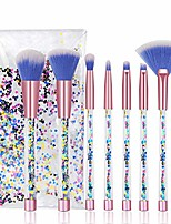 cheap -cute makeup brush set 7pcs, professional make up brushes quicksand sequins acrylic handle eye shadow blending concealer face fan special blue cosmetic brush for girl