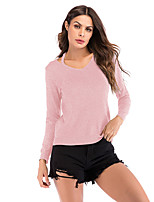 cheap -Women's Basic Knitted Solid Color Plain Pullover Long Sleeve Sweater Cardigans V Neck Fall Winter Black Blushing Pink Khaki