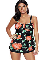 cheap -two piece swimsuits for women tummy control skirt swimwear ruched retro slim swimdress bathing suit floral black/2pc l (fits us 10-12)