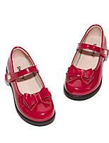 cheap -Girls' Flats School Shoes PU Little Kids(4-7ys) / Big Kids(7years +) Walking Shoes Black / Red Spring / Fall