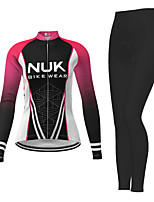 cheap -21Grams Women's Long Sleeve Cycling Jersey with Tights Winter Polyester Fuchsia Novelty Bike Jersey Tights Clothing Suit Breathable Quick Dry Moisture Wicking Back Pocket Sports Novelty Mountain Bike