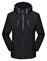 cheap -Men's Hiking Jacket Outdoor Thermal Warm Waterproof Windproof Breathable Top Spandex Camping / Hiking Hunting Climbing Black / Grey
