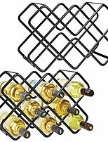 cheap -metal free-standing wine rack storage organizer for kitchen countertops, pantry, fridge - stores wine, beer, pop/soda, water bottles - 3 levels, holds 16 bottles, 2 pack - black