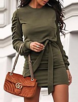 cheap -Women's Shift Dress Short Mini Dress - Long Sleeve Solid Color Patchwork Fall Casual Slim 2020 White Black Wine Army Green S M L XL XXL