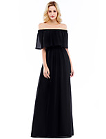cheap -A-Line Elegant Minimalist Party Wear Formal Evening Dress Off Shoulder Half Sleeve Floor Length Chiffon with Pleats 2020