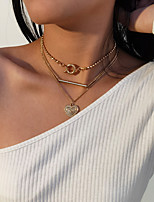 cheap -Women's Choker Necklace Necklace Stacking Stackable Heart Vertical / Gold bar Vintage European Chrome Gold 21-50 cm Necklace Jewelry For Christmas Street Gift Birthday Party Festival