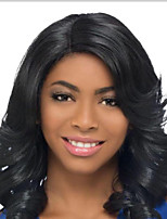 cheap -Synthetic Wig Curly Deep Wave Middle Part Wig Medium Length Natural Black Synthetic Hair 14 inch Women's Fashionable Design Middle Part Black