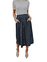 cheap -Women's Daily Wear Basic Midi Skirts Solid Colored Patchwork