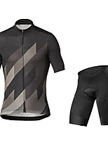 cheap -21Grams Men's Short Sleeve Cycling Jersey with Shorts Grey Black / Green Bike UV Resistant Quick Dry Sports Patterned Mountain Bike MTB Road Bike Cycling Clothing Apparel / Stretchy