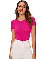 cheap -women& #39;s solid basic tee round neck short sleeve slim fit t-shirt tops x-small pink