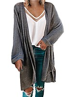 cheap -Women's Basic Knitted Solid Color Plain Cardigan Long Sleeve Loose Sweater Cardigans V Neck Fall Winter Black Blushing Pink Brown