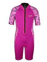 cheap -kids shorty wetsuits thermal swimsuit, 2mm neoprene front zip keep warm for boys girls toddler youth swimming,diving,surfing (pink, 6)