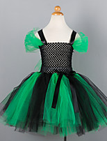 cheap -Witch Cosplay Costume Costume Girls' Movie Cosplay Tutus Plaited Vacation Dress Green Dress Christmas Halloween Carnival Polyester / Cotton Polyester