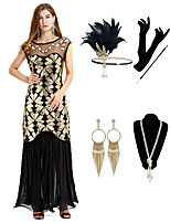 cheap -The Great Gatsby Vintage 1920s Vacation Dress Flapper Dress Outfits Masquerade Women's Costume Black Vintage Cosplay Party Prom / Gloves / Headwear / Necklace / Earrings / Cigarette Stick