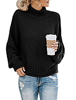 cheap -Women's Basic Knitted Solid Color Plain Pullover Long Sleeve Sweater Cardigans Turtleneck Fall Winter Black Army Green Green