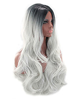 cheap -Synthetic Wig Curly Bouncy Curl Middle Part Wig Long Grey Synthetic Hair 28 inch Women's Fashionable Design Soft Easy to Carry Black Gray