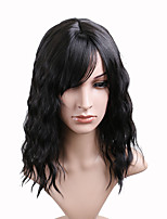 cheap -Synthetic Wig Loose Curl Asymmetrical With Bangs Wig Medium Length Natural Black Synthetic Hair 14 inch Women's Fashionable Design Party Fluffy Black