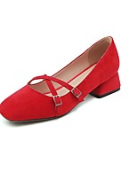 cheap -Women's Heels Wedge Heel Square Toe Sweet Daily Solid Colored Nubuck Nude / Red / Pink