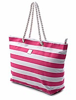 cheap -large canvas striped beach bag - top zipper closure - waterproof lining - tote shoulder bag for gym beach travel (striped pink)