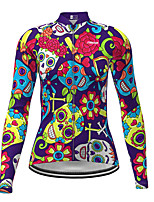 cheap -21Grams Women's Long Sleeve Cycling Jersey Winter Polyester Purple Novelty Skull Bike Jersey Top Mountain Bike MTB Road Bike Cycling Quick Dry Back Pocket Sports Clothing Apparel / Micro-elastic