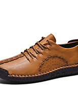 cheap -Men's Oxfords Casual / British Daily Outdoor Walking Shoes Faux Leather Breathable Wear Proof Light Brown / Black / Khaki Spring / Fall