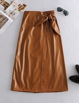cheap -Women's Casual / Daily Basic Midi Skirts Solid Colored Bow