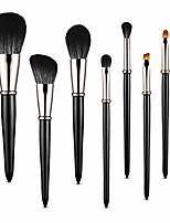 cheap -makeup brushes, 7pcs premium synthetic contour concealers foundation powder eye shadows eyebrow makeup brushes, portable travel makeup brush sets & #40;black& #41;