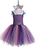 cheap -Princess Cosplay Costume Costume Girls' Movie Cosplay Tutus Plaited Vacation Dress White / Purple Dress Headwear Christmas Halloween Carnival Polyester / Cotton Polyester