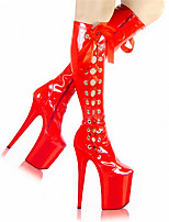 cheap -Women's Boots Pumps Round Toe Sexy Party & Evening Solid Colored PU Mid-Calf Boots Black / Red