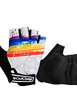 cheap -Bike Gloves / Cycling Gloves Breathable Quick Dry Anti-Slip Stretchy Fingerless Gloves Sports Gloves Sponge Lycra White Black for Adults Road Cycling Leisure Sports Outdoor Exercise