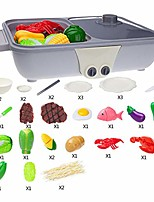 cheap -kids play house kitchen toy set, simulation dual-use pot toys,iron plate kitchenware suit grill barbecue play set for boy and girl.