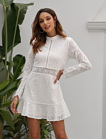 cheap -A-Line Cut Out Minimalist Homecoming Party Wear Dress High Neck Long Sleeve Short / Mini Cotton with Lace Insert 2020
