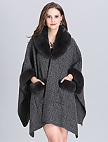 cheap -Women's Fall & Winter Shirt Collar Cloak / Capes Regular Plaid Daily Basic Fur Trim Dark Gray One-Size / Loose / Batwing Sleeve