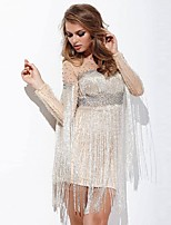 cheap -Women's Shift Dress Short Mini Dress - Long Sleeve Solid Color Mesh Tassel Fringe Patchwork Fall One Shoulder Sexy Party Slim 2020 Beige L XL XXL 3XL 4XL