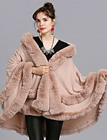 cheap -Women's Fall & Winter Cloak / Capes Long Solid Colored Daily Basic Black Blushing Pink One-Size