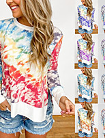 cheap -Women's Sweatshirt Tie Dye Crew Neck Color Block Sport Athleisure Pullover Long Sleeve Warm Soft Comfortable Plus Size Everyday Use Daily Exercising