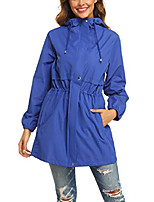 cheap -rain jacket women waterproof hooded raincoat active outdoor windbreaker trench coat (blue, large)