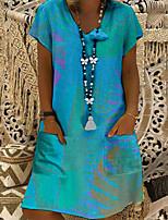 cheap -Women's Sheath Dress Short Mini Dress - Short Sleeve Rainbow Print Summer V Neck Plus Size Sexy Going out 2020 Blushing Pink Khaki Light Blue S M L XL XXL 3XL