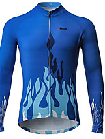 cheap -21Grams Men's Long Sleeve Cycling Jacket Blue Novelty Bike Jersey Top Mountain Bike MTB Road Bike Cycling UV Resistant Breathable Quick Dry Sports Clothing Apparel / Stretchy